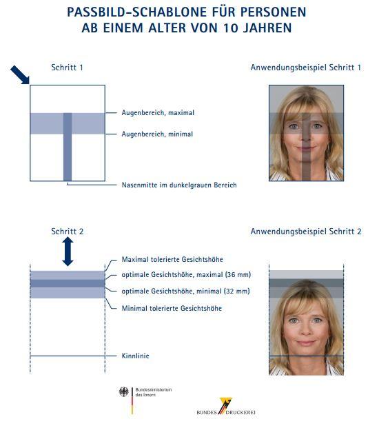 Biometrisches Passbild Schablone